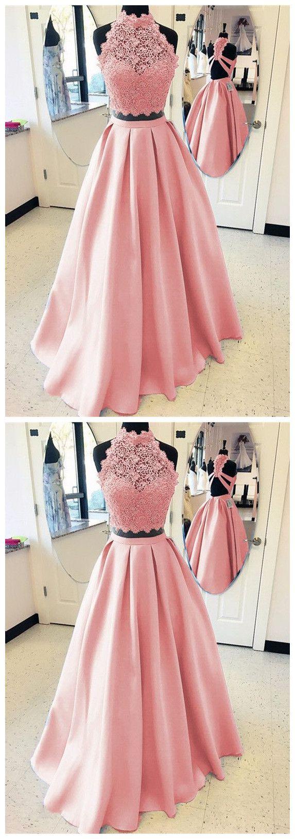 Elegant aline high neck open back satin prom dresses two piece