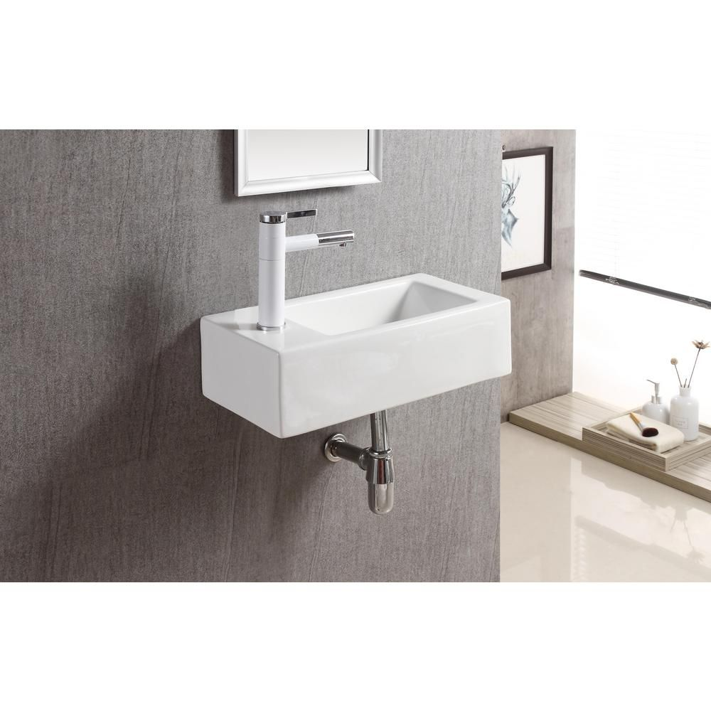 Elanti Wall Mounted Right Facing Rectangle Bathroom Sink In White Ec9899 R The Home Depot In 2020 Small Bathroom Sinks Sink Wall Mounted Bathroom Sinks