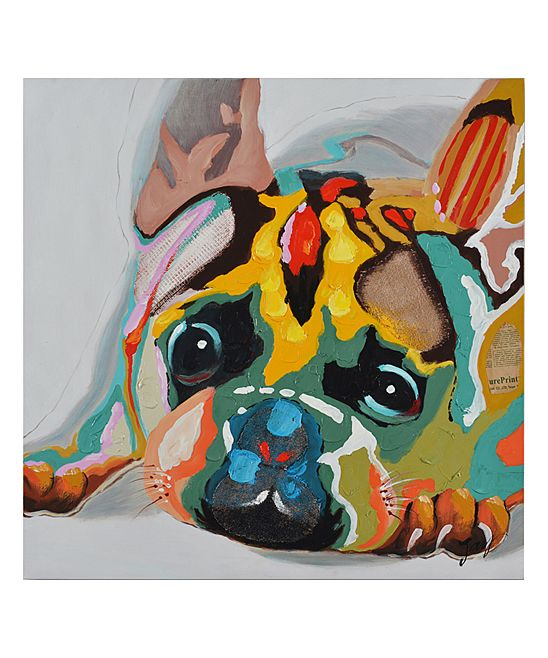 cutie hand painted gallery wrapped canvas painting dog on benjamin moore house paint simulator id=24398