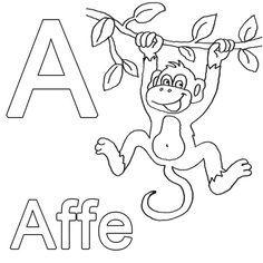Ausmalbild Buchstaben lernen: Kostenlose Malvorlage: A wie Affe