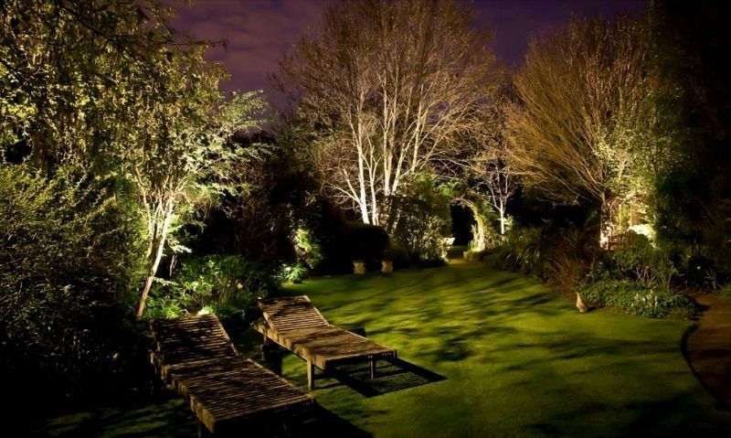 eclairage jardin arbre
