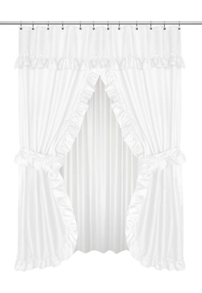 ruffled double swag shower curtain with valance & tie-backs, white
