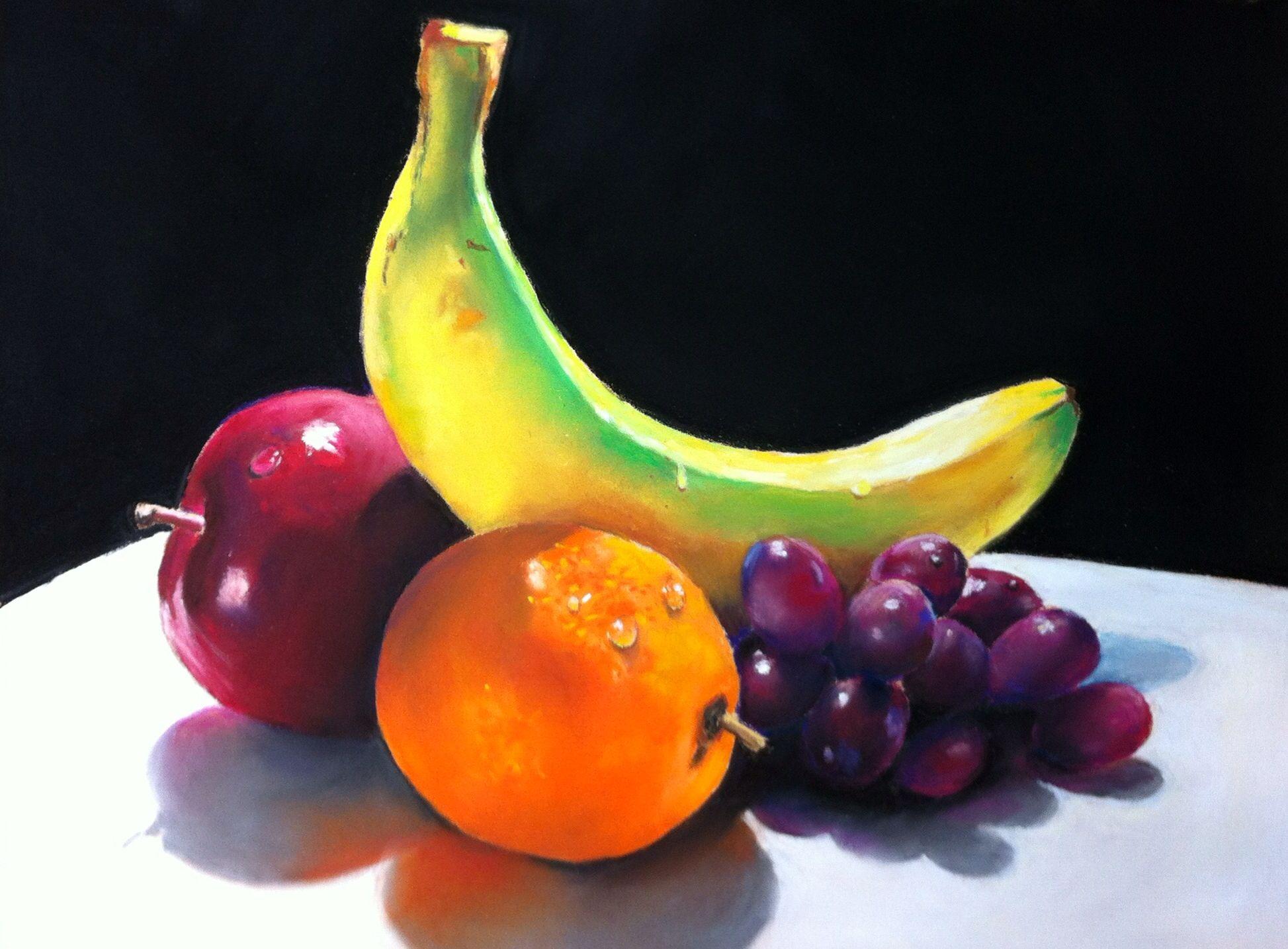 Nature S Bounty Fruit Pastel Still Life Painting