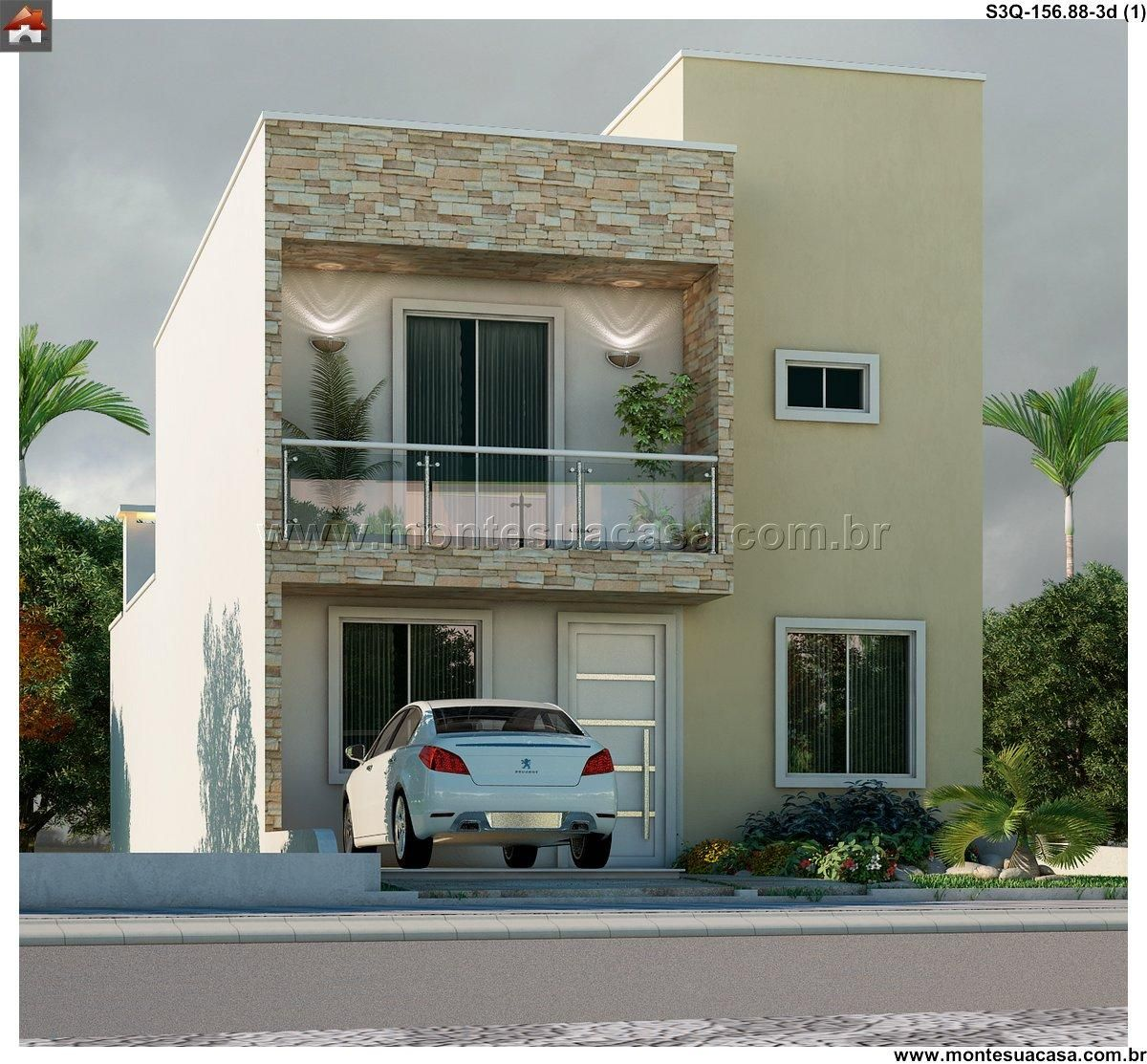 Planta de Sobrado - 3 Quartos - 156.88m² - Monte Sua Casa