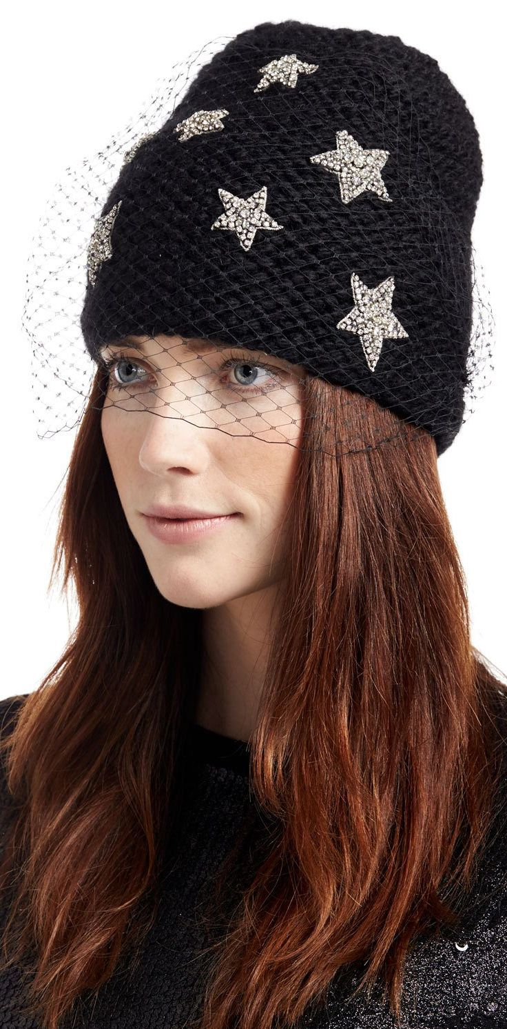 14bd79478fb Jennifer Behr Galaxy Voilette Veiled Alpaca Beanie. Seed-stitched beanie in  alpaca wool. Swarovski® crystal star detail. Nylon veiling at front.