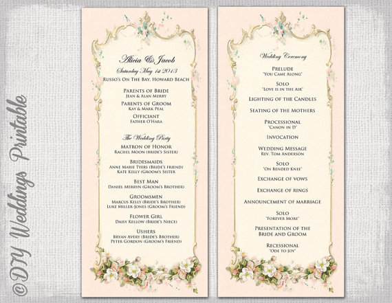 Printable wedding program template -Vintage\