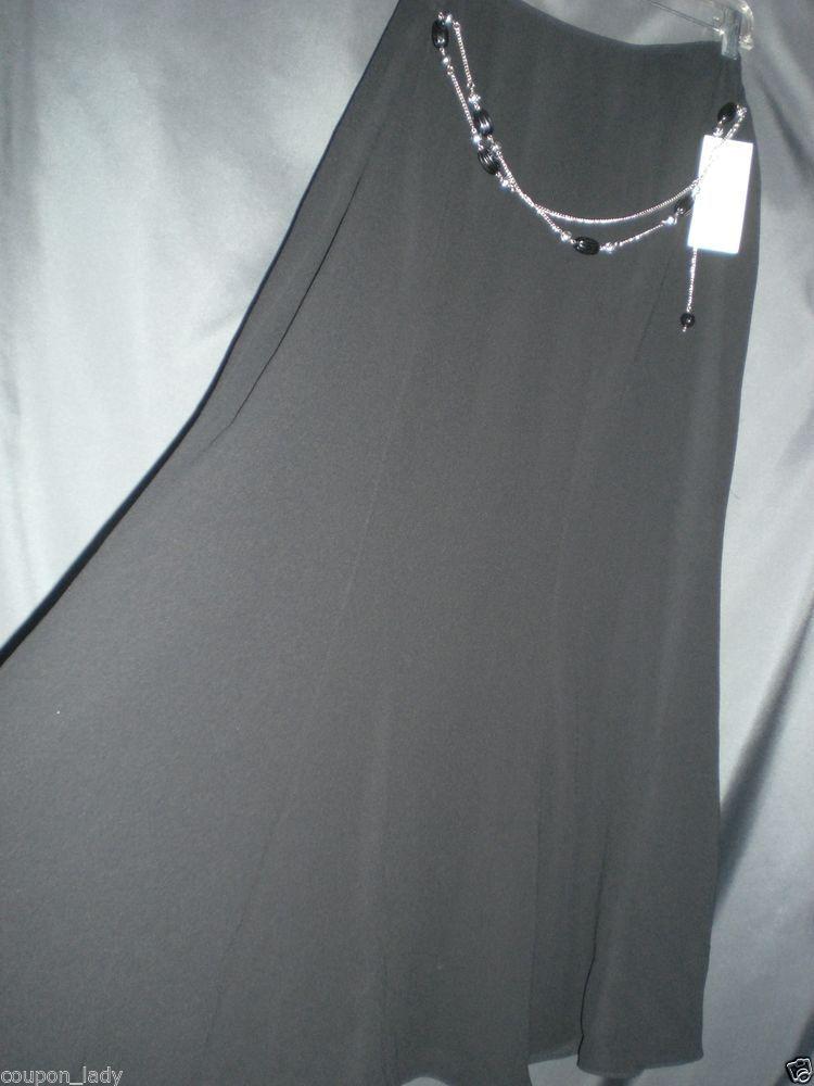 elementz black skirt long size M with chain belt A line long evening work skirt #Elementz #ALine