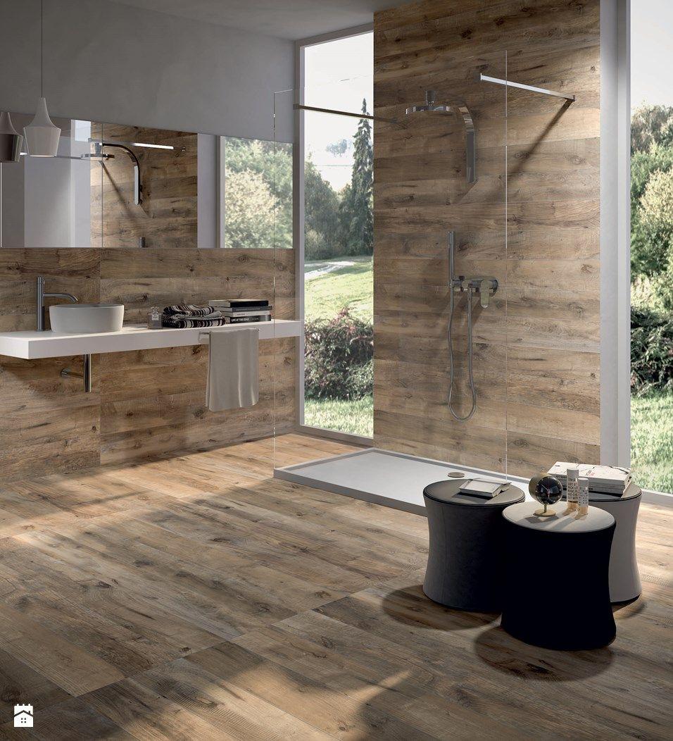 Carrelage en faux bois pour la douche. salle de bain parents ...