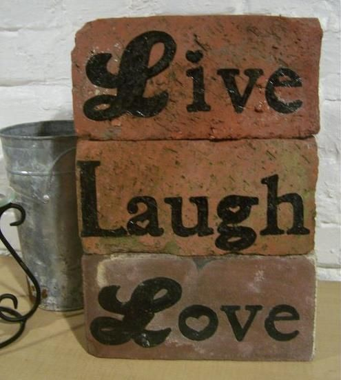 Garden Art Made From Used Bricks Brick Crafts Painted