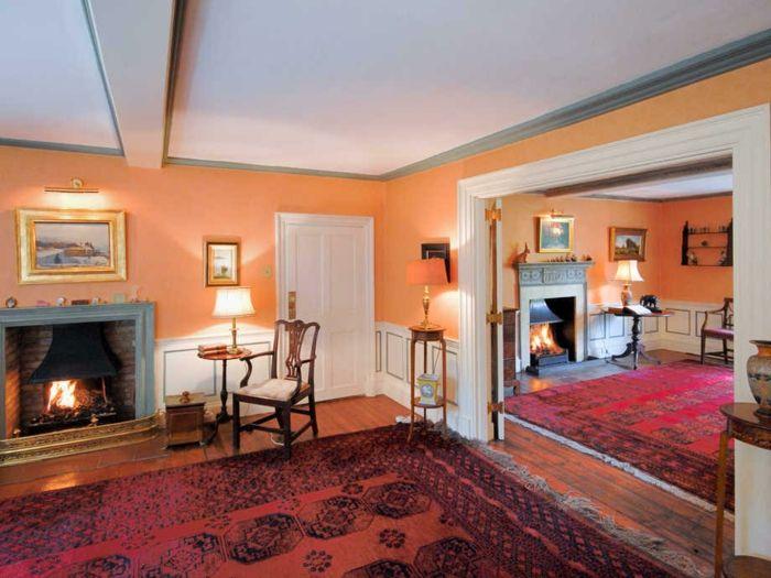 wandfarbe ideen orange wandfarbe kamin gemütlich Farben Pinterest - kamin gemtlich