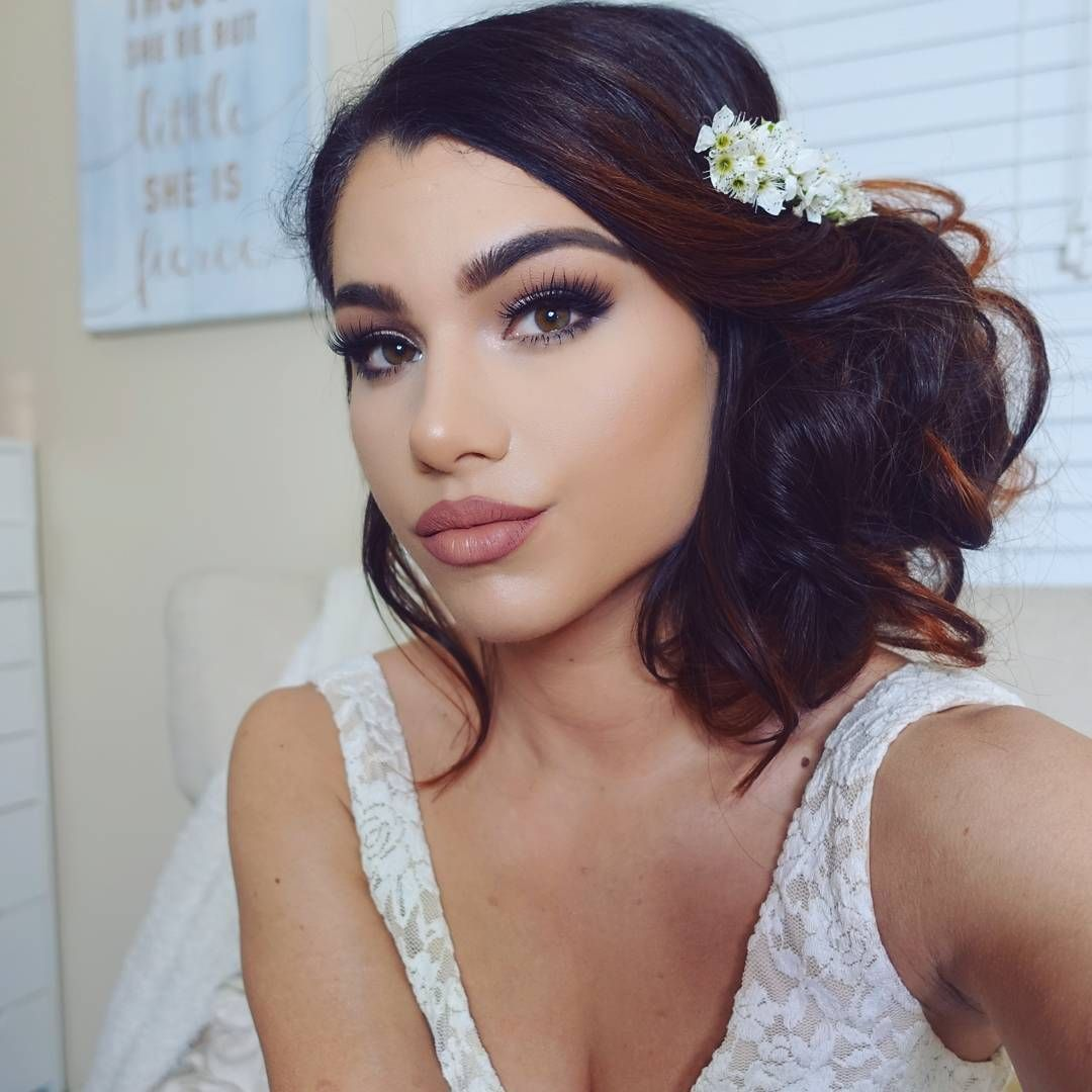 Wedding Hairstyle And Makeup: Wedding Makeup & Hair Romantic Bun Updo With Flowers