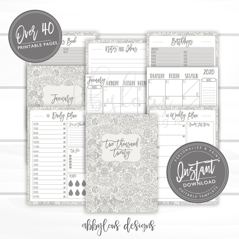 EDITABLE 2020 Planner Printable, Weekly Planner, Daily