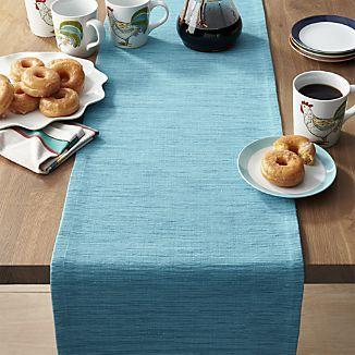 Grasscloth 90 Aqua Blue Table Runner Blue Table Runner Blue