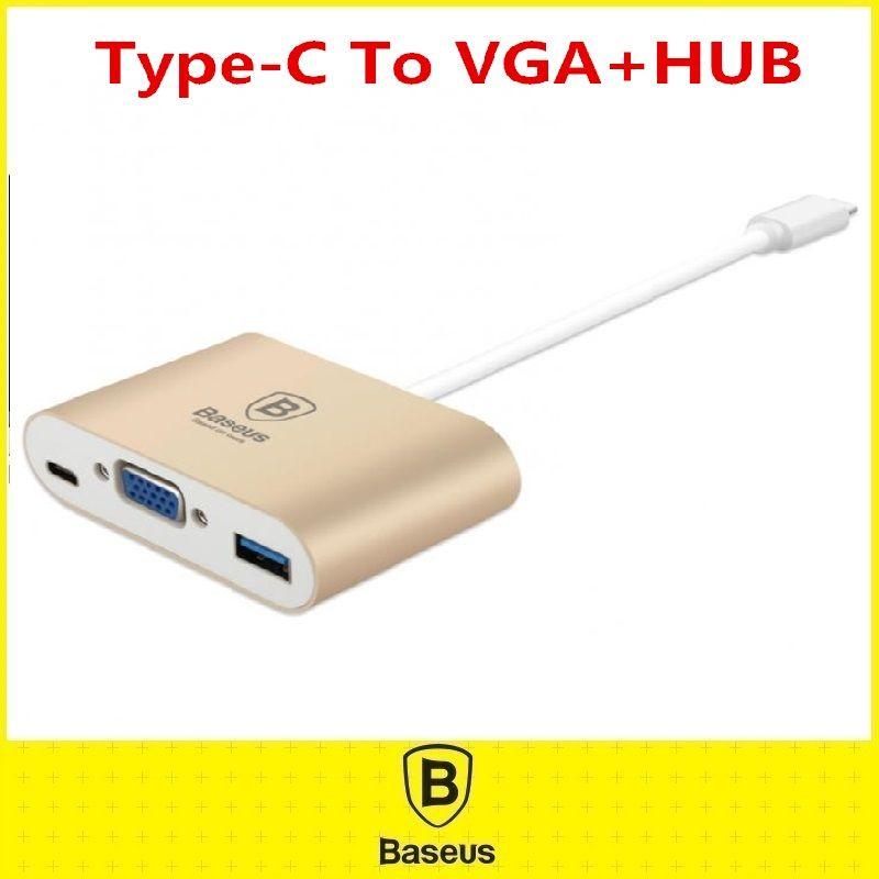 Original Baseus Type C To HDMI VGA HUB OTG Adapter Aluminum