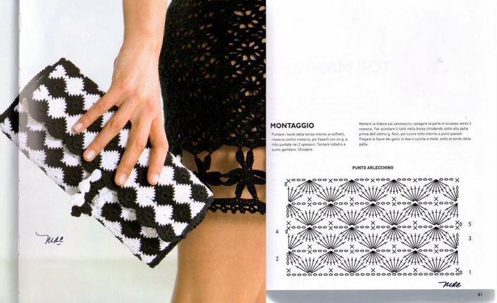 Bolso cartera blanco y negro | Crochet Bolsos de Mano | Pinterest ...