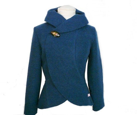 Women boiled wool Jacket turquoise size Xs-L | Wool Jackets and
