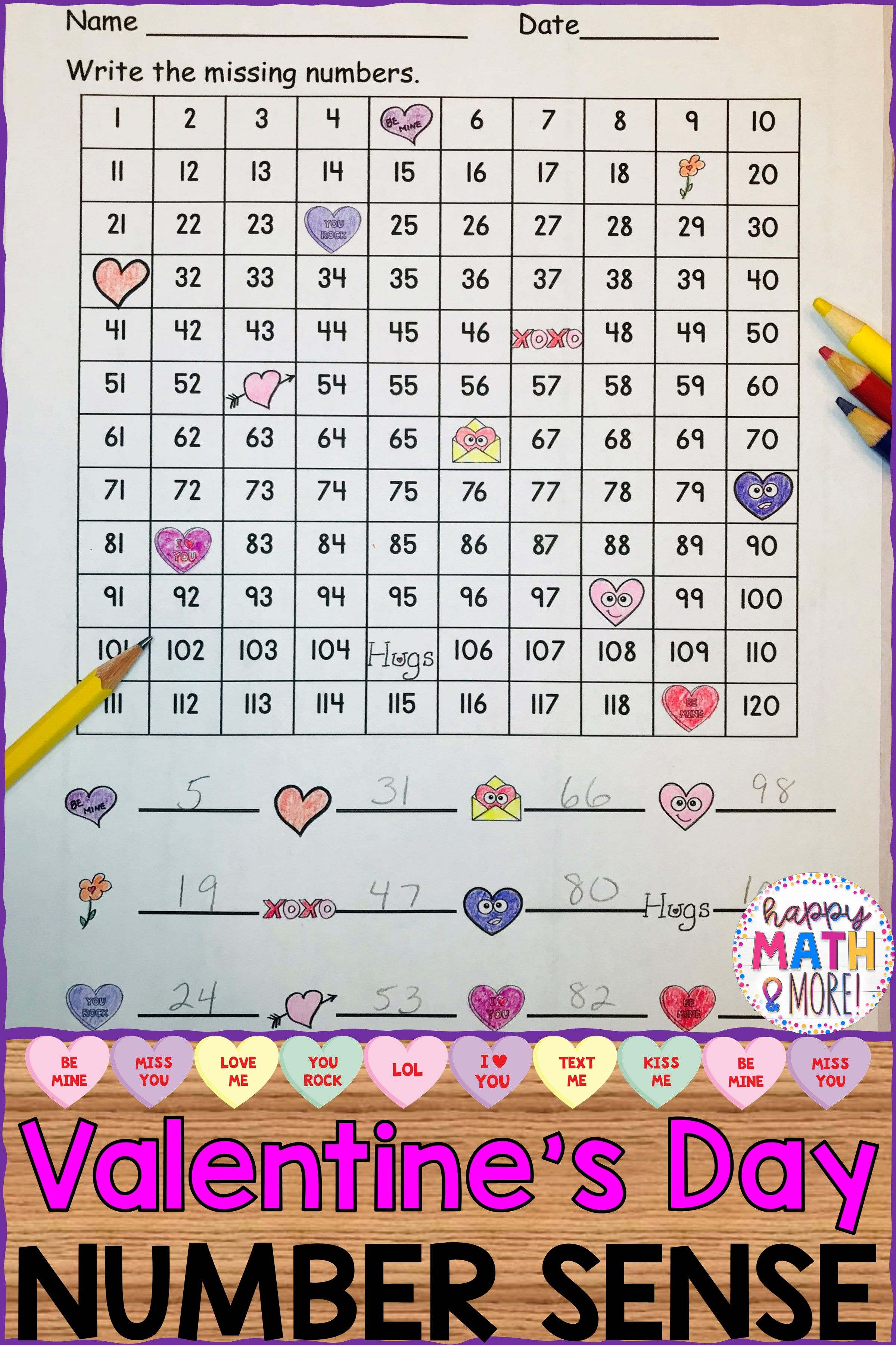 1 Differentiated Set Of 120 Charts With Numbers Hiding