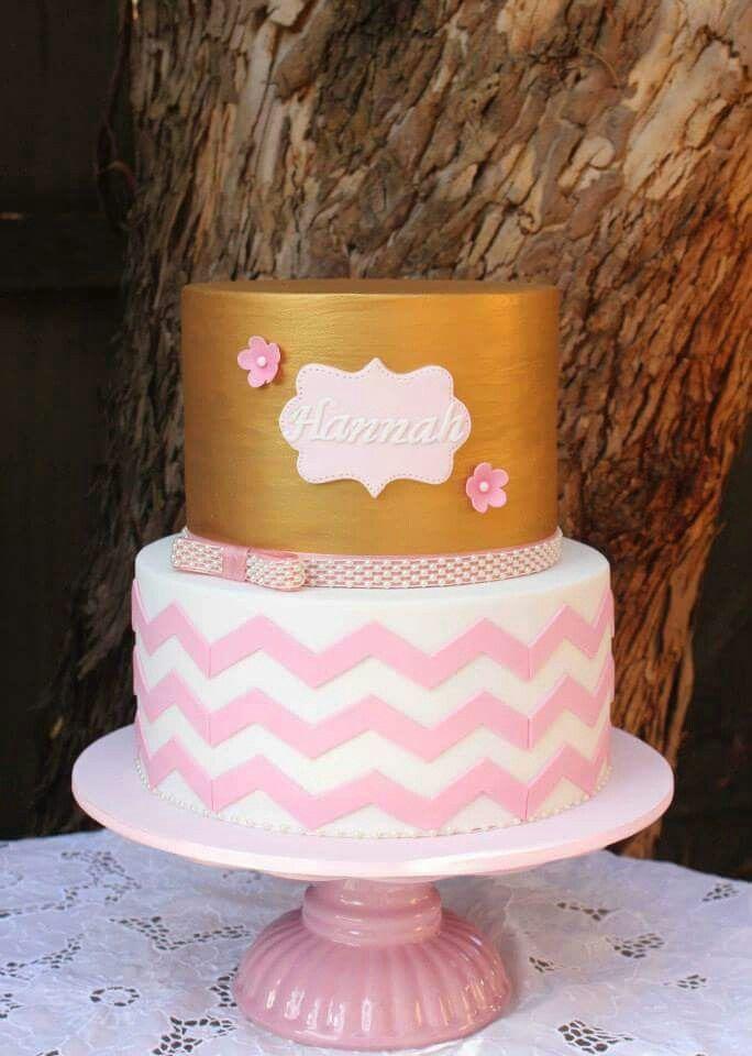 Gold Chevron Pink White First Birthday Cake