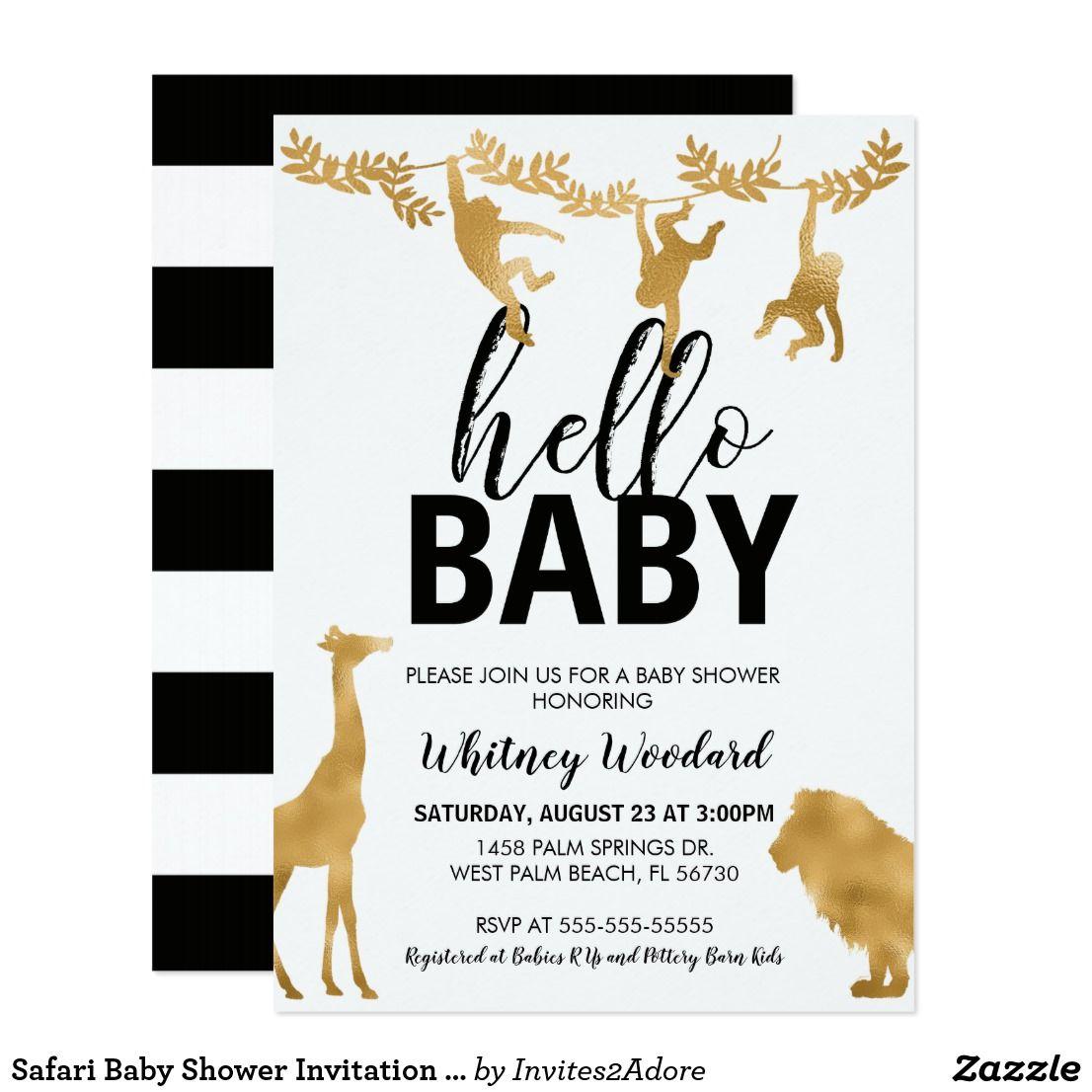 Safari Baby Shower Invitation | Black & Gold | Shower invitations ...