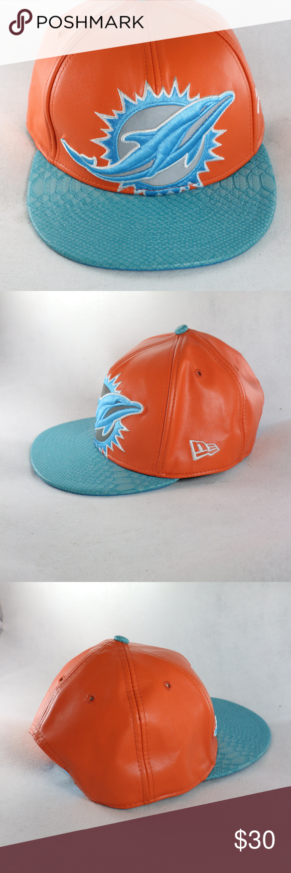 47dfe17f NFL Vintage MIAMI Dolphins Leather Snapback Hat Alternate color than ...