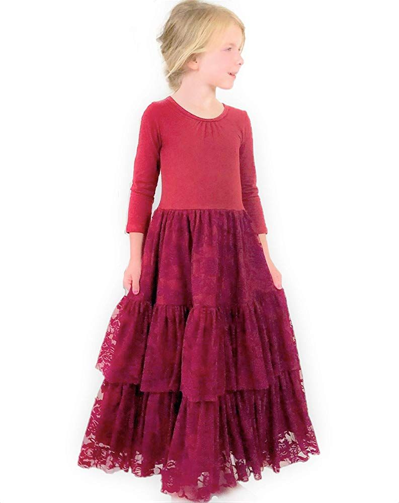 Amazon Com Jennifer And June Red Burgundy Tiered Long Sleeve Christmas Lace Maxi Dress F Toddler Maxi Dresses Long Sleeve Lace Maxi Dress Toddler Girl Dresses [ 1000 x 793 Pixel ]