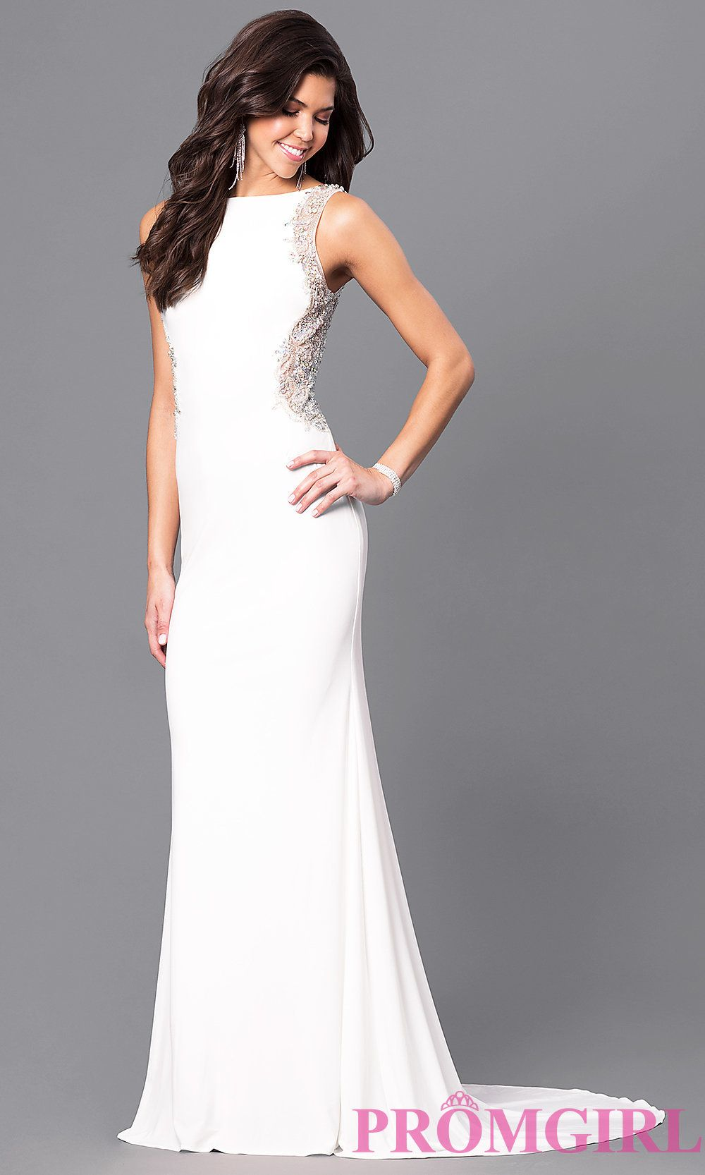 Ivory long prom dress with back cut out prom top picks