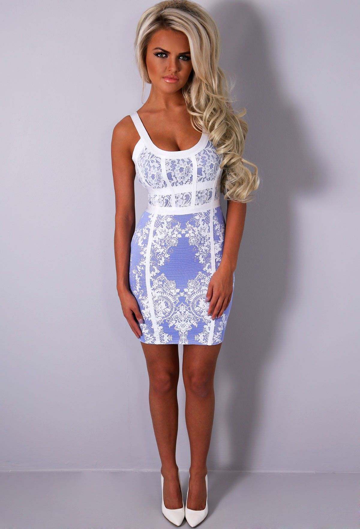 Purple Sunset Lilac White Lace Bandage Dress Pink