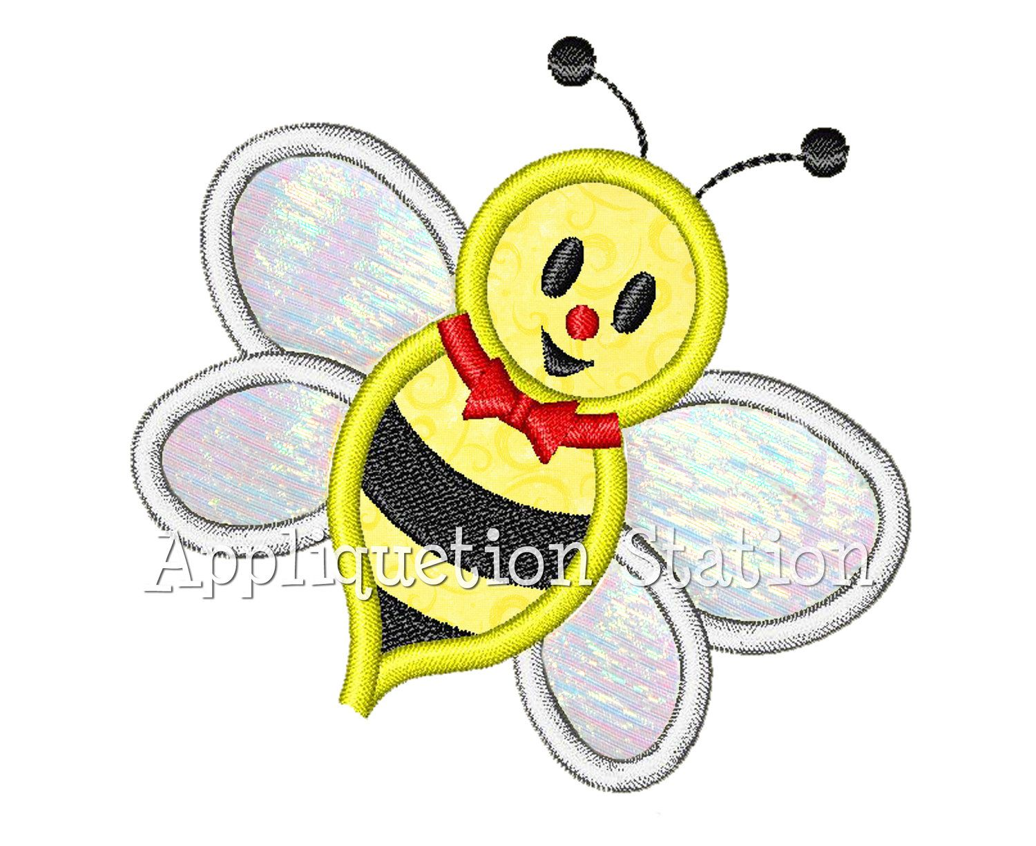 Cute bugzee bee applique machine embroidery design boy