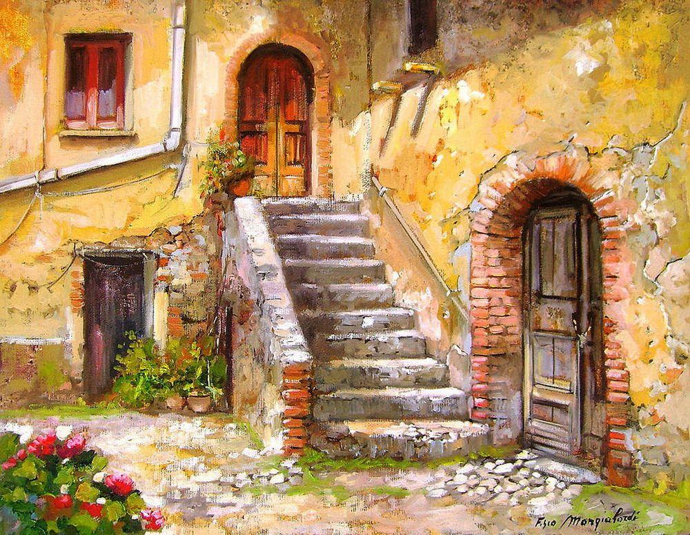 Im genes arte pinturas galer a cuadros de paisajes for Casas viejas remodeladas