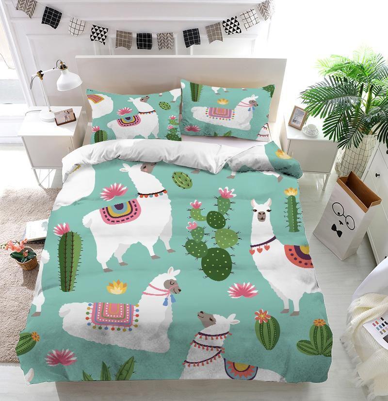Alpaca Llama And Cactus Duvet Cover Bedding Set Bedding Set Bedroom Layouts Bedroom Themes