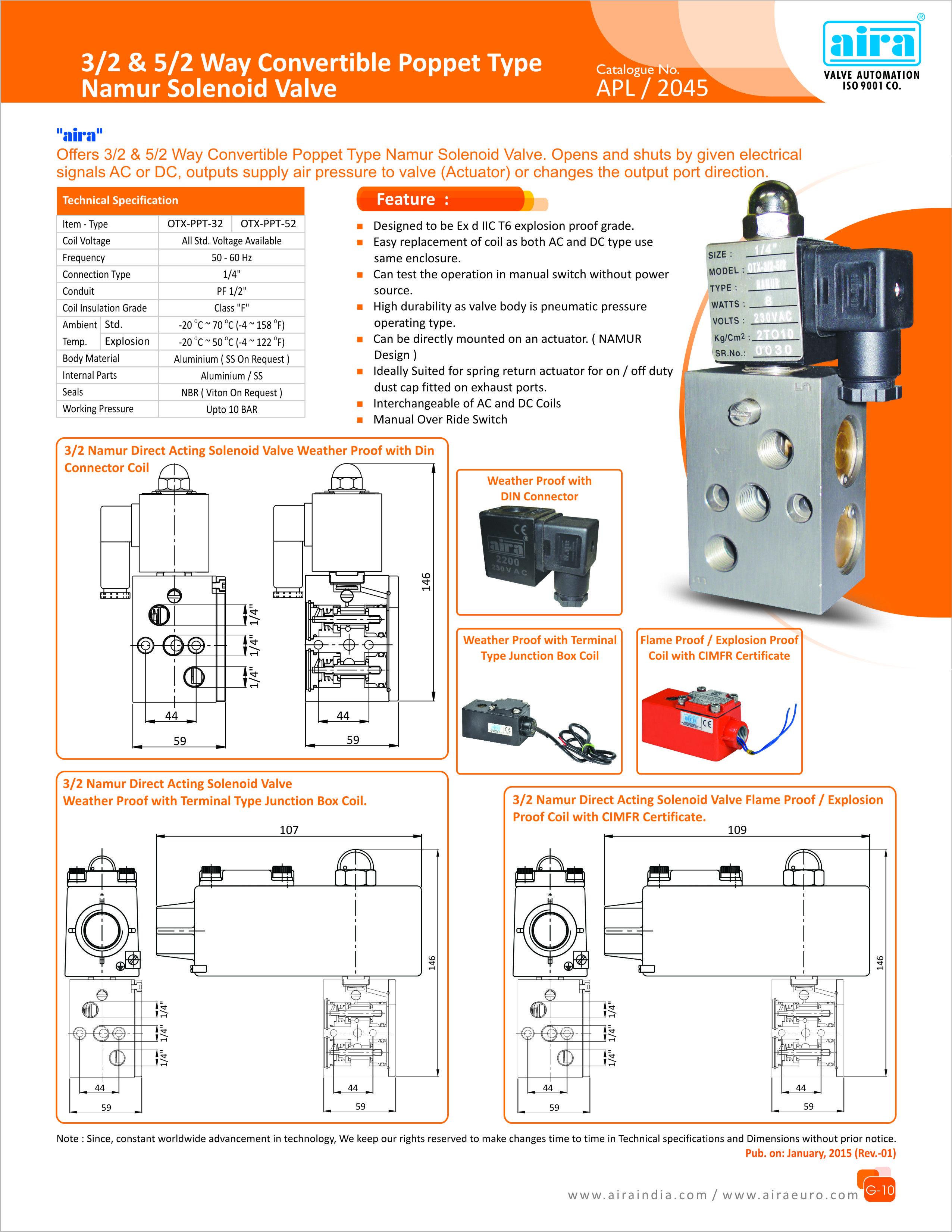 3 2 5 Way Convertible Poppet Type Namur Solenoid Valve For More Air Pressor 240 Volt Wiring Diagram Info Visit Now At Airaindiacom