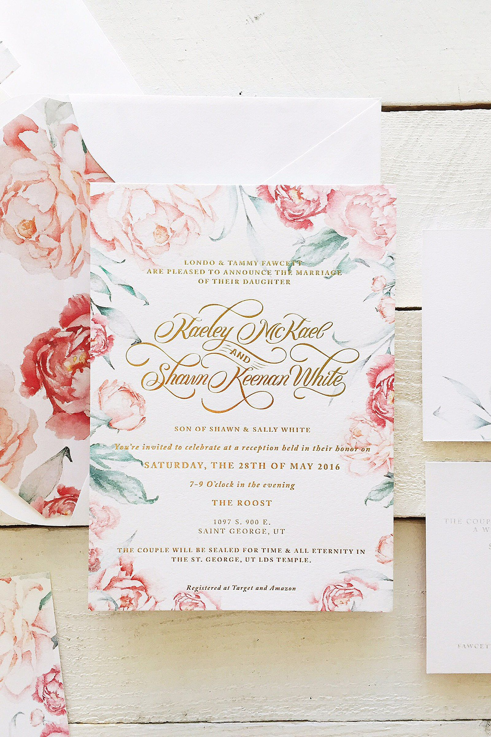 Fields Of Peonies Floral Watercolor Invitation Floral