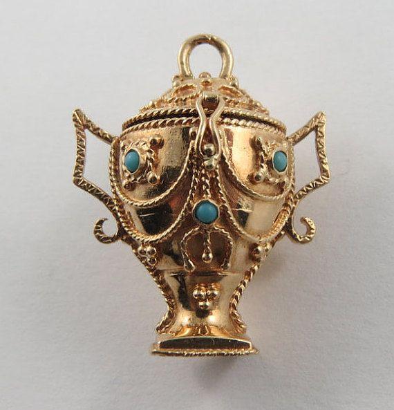 Urn Mechanical 10 Karat Gold Charm For Bracelet Gold Charm Bracelet Vintage Charm Bracelet Vintage Charms