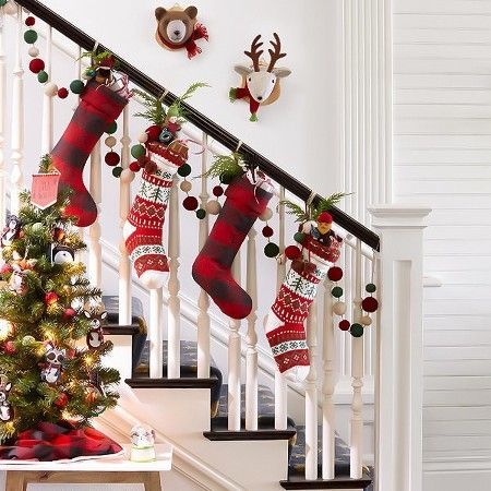 traditional red green holiday decorating ideas target staircase ideasstaircase decorationchristmas 2016christmas