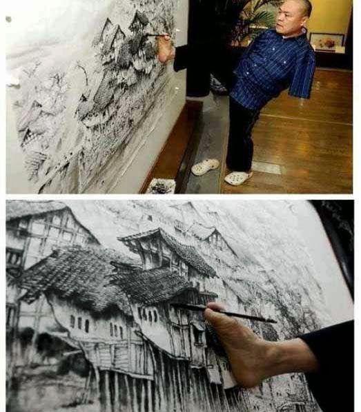 3D ART STREET ART MATERIAL ART FINE ART AND ALL: amazing artist having no hands