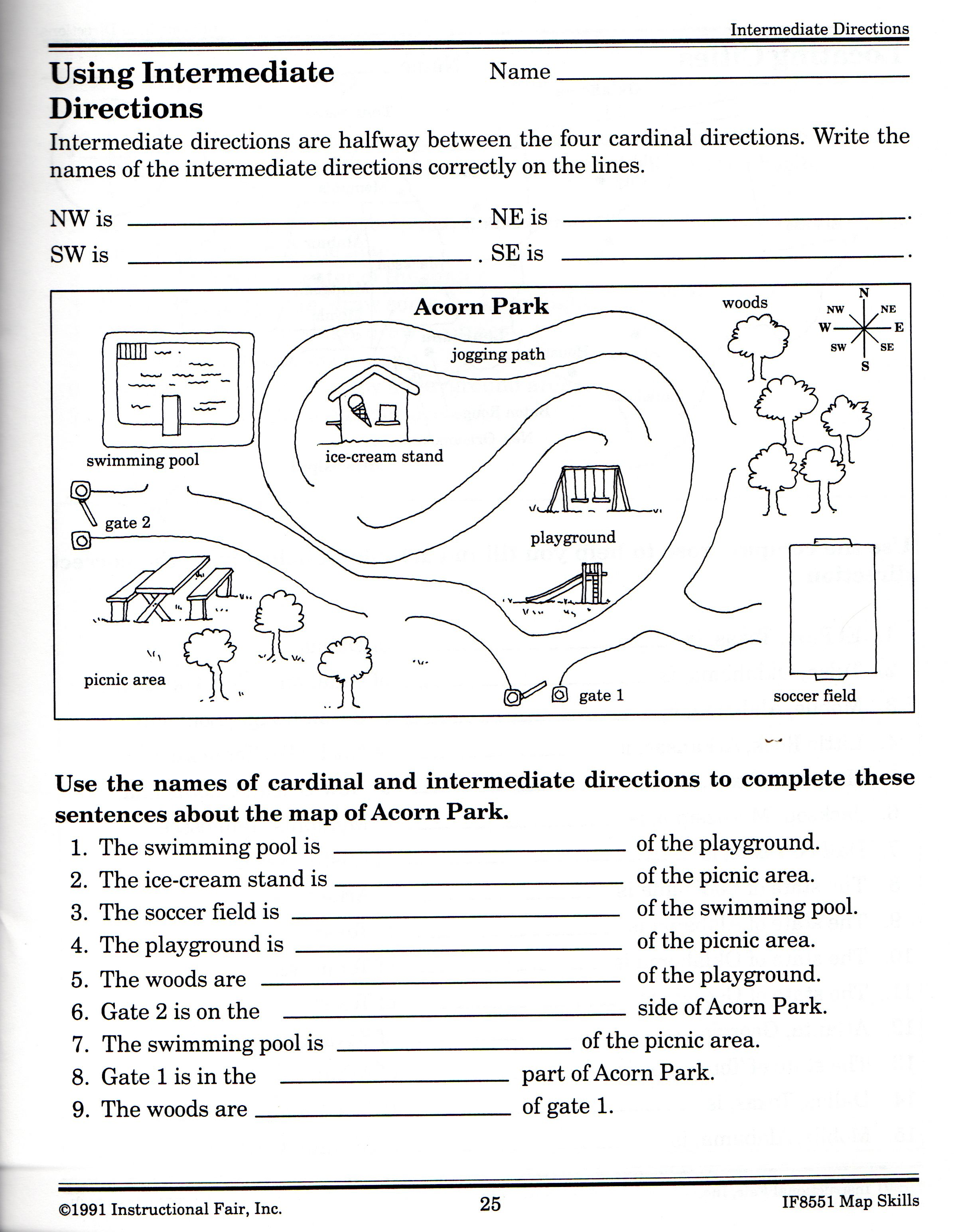 Intermediate Directions Worksheet Social Studies Worksheets Map Skills Worksheets Middle School Maps