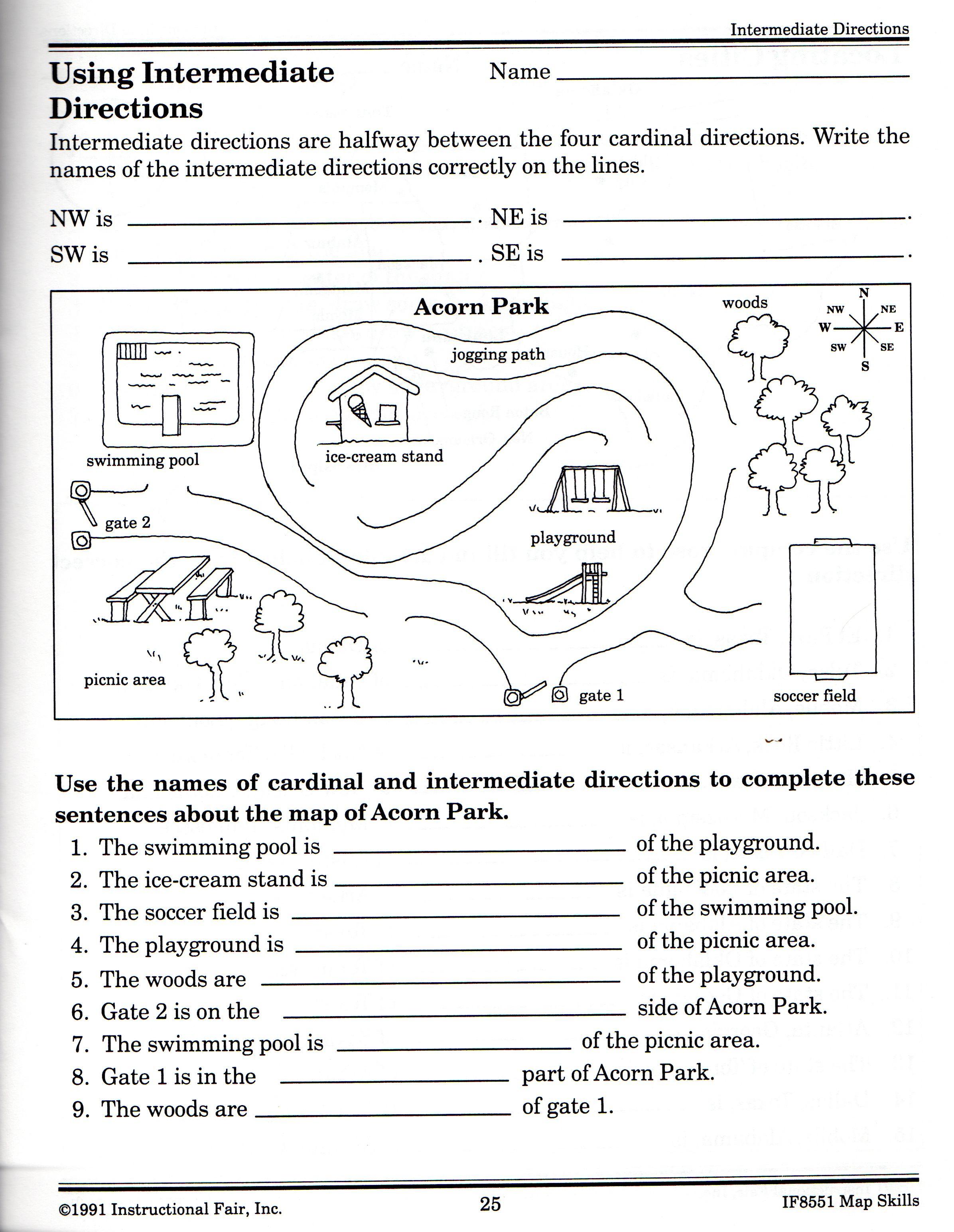 Intermediate Directions Worksheet   Social studies worksheets [ 3088 x 2392 Pixel ]