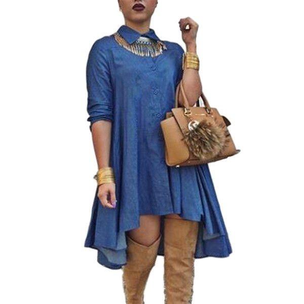 75bd3776ee Long Sleeve High-Low Denim Dress Shirt Type Dress Denim Super Cute Size  Large
