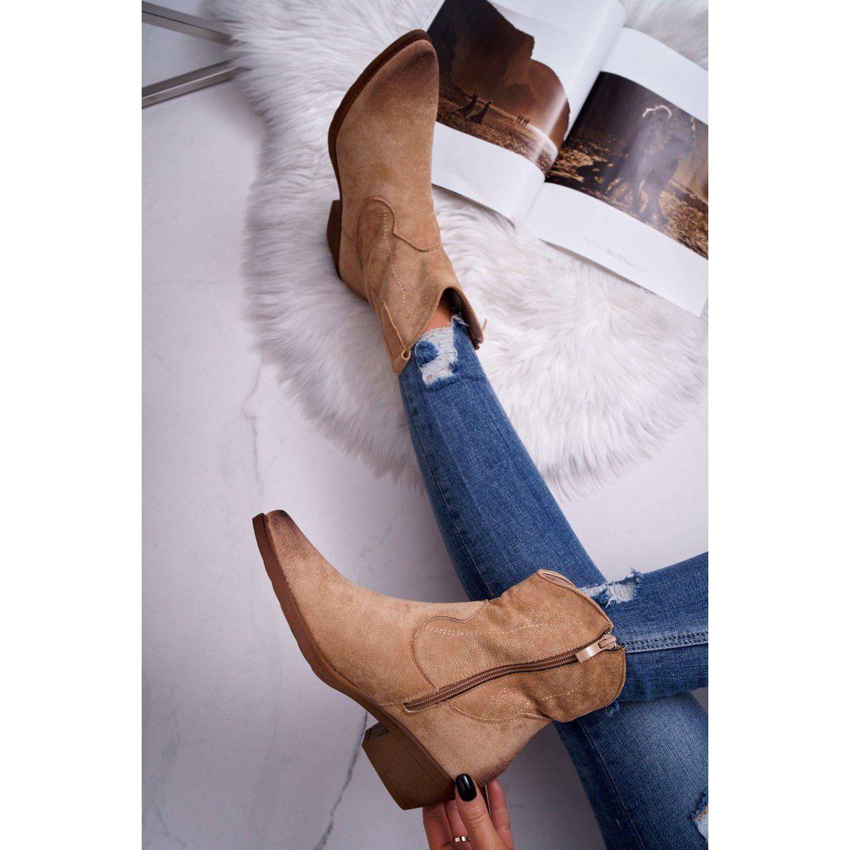 Bugo Damskie Botki Kowbojki Zamszowe Bezowe Ferders Bezowy Heels Boots Ankle Boot