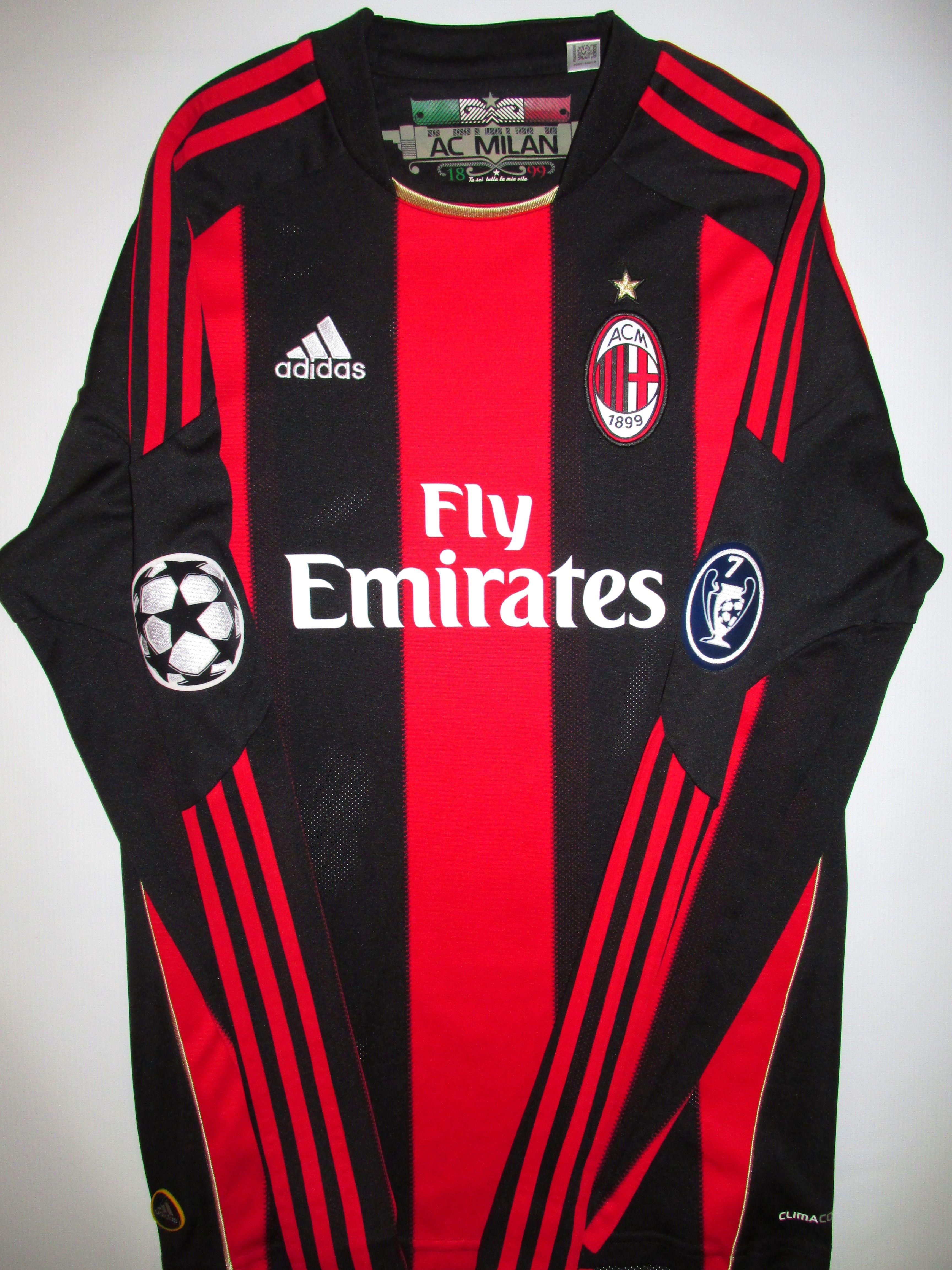 AC Milan 2010/2011 home Champions League football shirt   Soccer ...