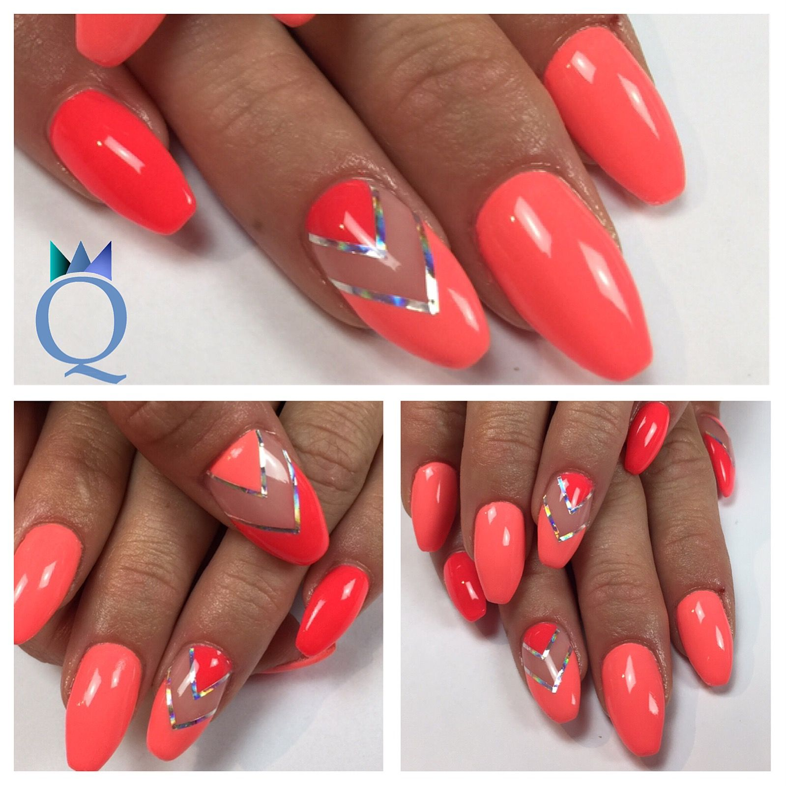 #Coffinnails #Ballerina #Shape #Gelnails #Nails #Coral #Neon #Akyado