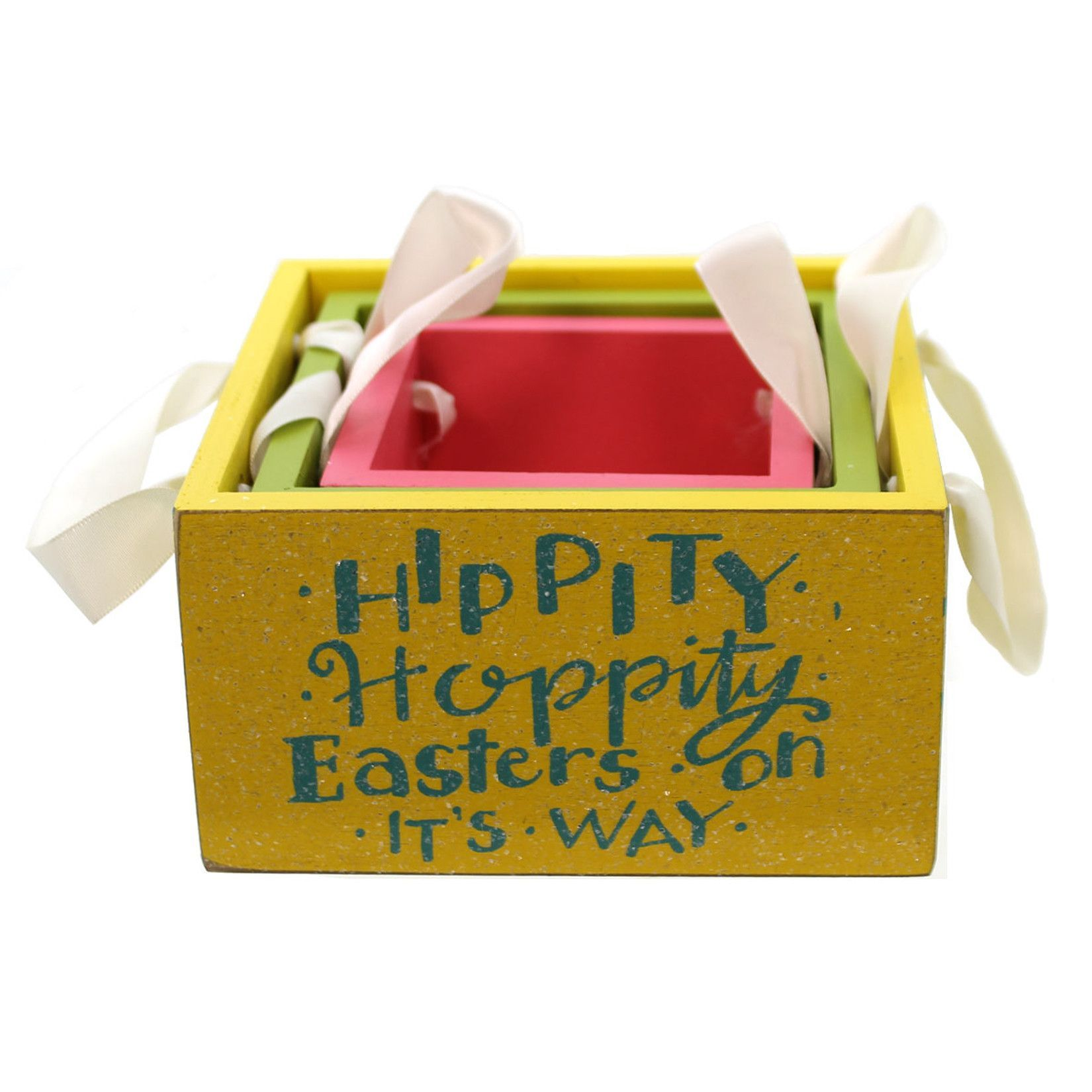 Easter Wooden Easter Bins Storage Box