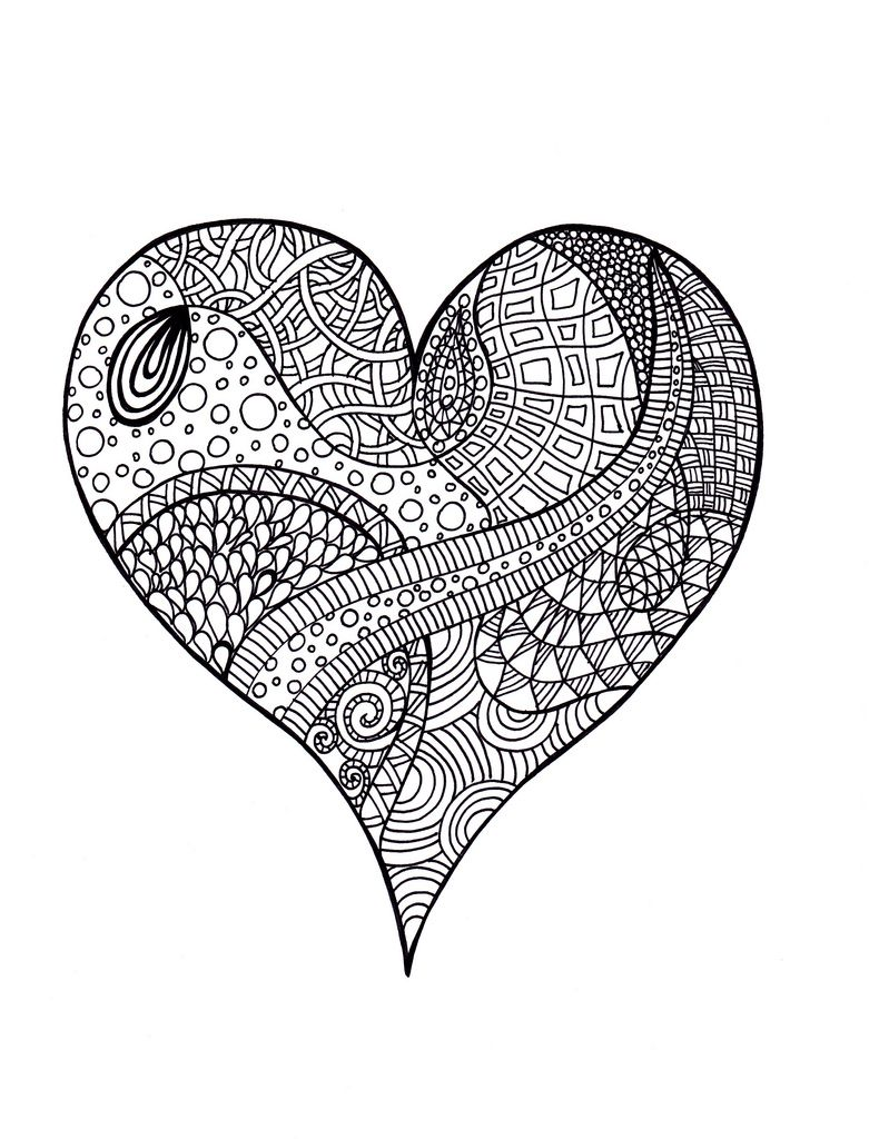 Printable coloring pages zentangle - Heart Zentangle Colouring Page Flickr Photo Sharing