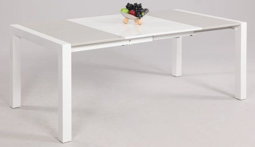 Chintaly Imports Gina Parson Extendable Gray And White Lacquer