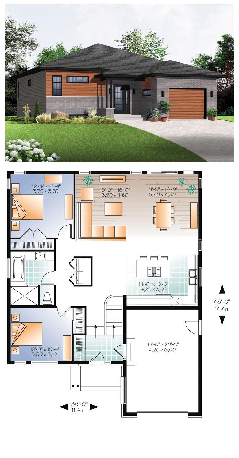 Modern Style House Plan 76356 With 2 Bed 1 Bath 1 Car Garage Modern Style House Plans Contemporary House Plans Modern House Plans