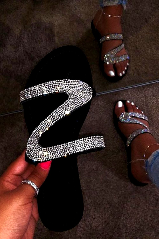WOMENS LADIES DIAMOND TRIM FLAT ANKLE STRAP  TOE POST  SHOES SANDALS SIZE 3-8