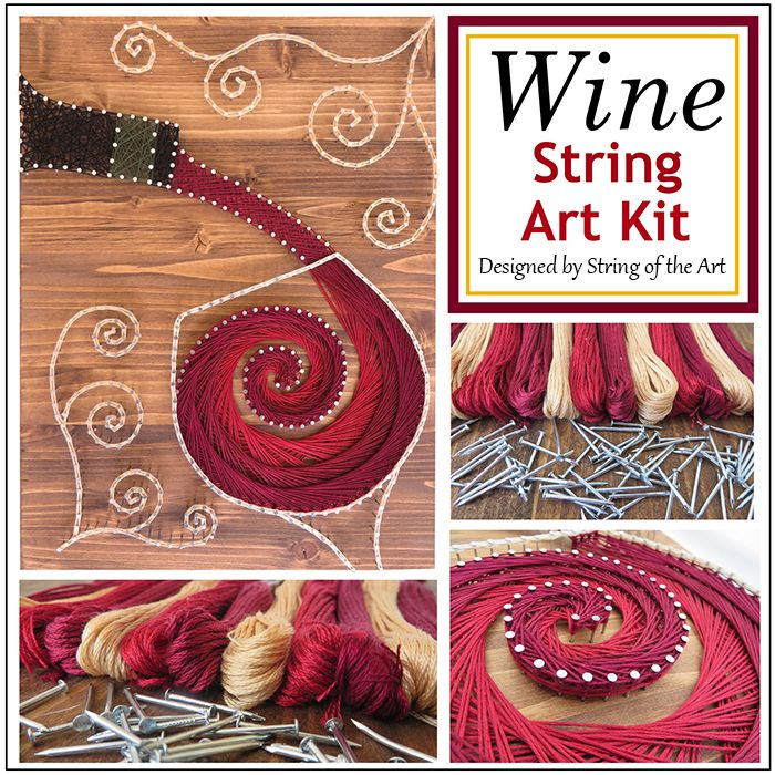 Stained Wood Pouring Wine String Art Kit | Diy string art, String ...