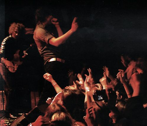 Julian Casablancas and Albert Hammond Jr. during a Strokes show.