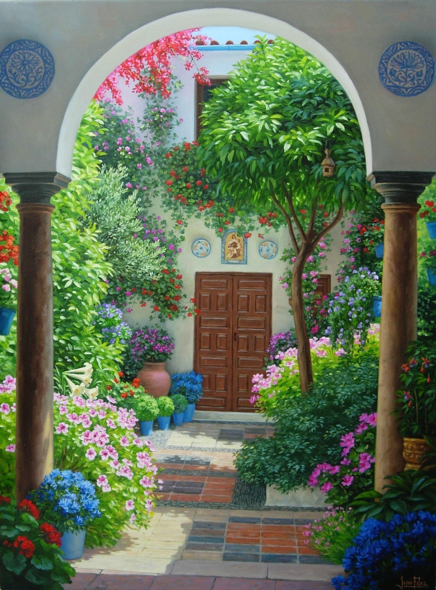 Patio Andaluz Pinturas Hermosas Jardines Bonitos Arte Tropical