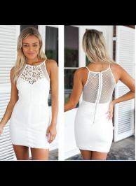 Patchwork lace bodycon dress